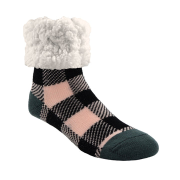 Pudus Cozy Winter Slipper Socks for Women and Men with Non-Slip Grippers and Faux Fur Sherpa Fleece - Adult Regular Fuzzy Socks Lumberjack Blush - Classic Slipper Sock