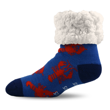 Pudus Cozy Winter Slipper Socks for Women and Men with Non-Slip Grippers and Faux Fur Sherpa Fleece - Adult Regular Fuzzy Socks Lobster Blue - Classic Slipper Socks
