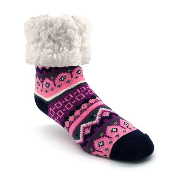 Pudus Cozy Winter Slipper Socks for Women and Men with Non-Slip Grippers and Faux Fur Sherpa Fleece - Adult Regular Fuzzy Socks Nordic Pink - Classic Slipper Sock