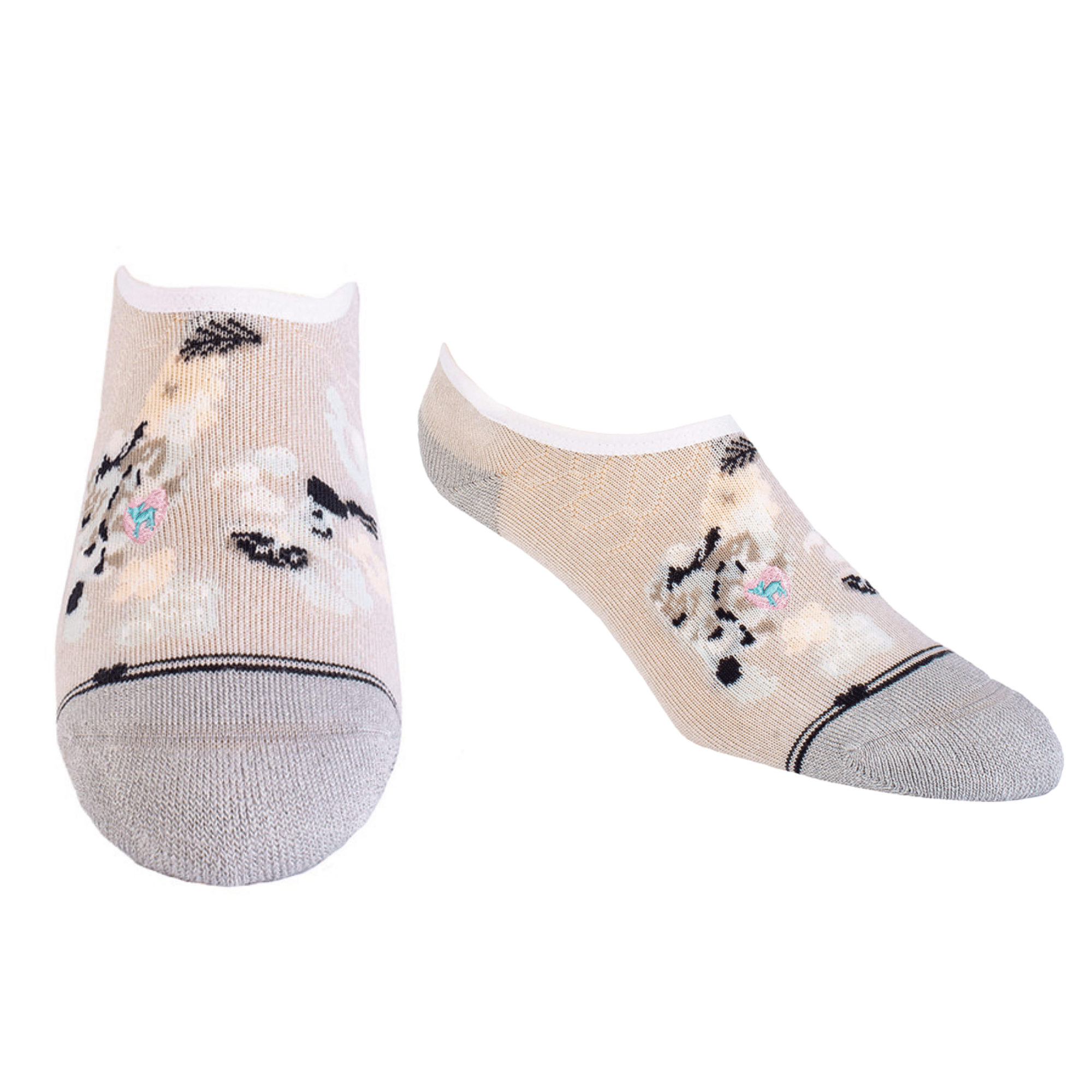 Bamboo Socks | No Fuss No-Show | Fleur de Rose Grey