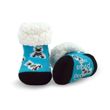 Pudus Cozy Winter Slipper Socks for Toddlers with Non-Slip Grippers and Faux Fur Sherpa Fleece - Baby Boy and Girl Fuzzy Socks (Ages 1-3) Polar Bear - Toddler  Slipper Sock