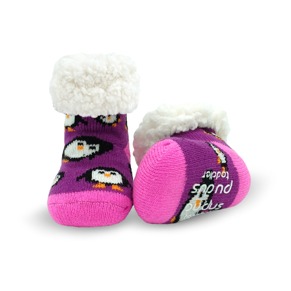 Toddler Classic Slipper Socks | Penguin Purple