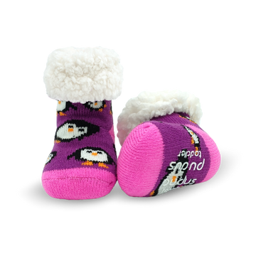 Pudus Cozy Winter Slipper Socks for Toddlers with Non-Slip Grippers and Faux Fur Sherpa Fleece - Baby Boy and Girl Fuzzy Socks (Ages 1-3) Purple Penguin - Toddler  Slipper Sock