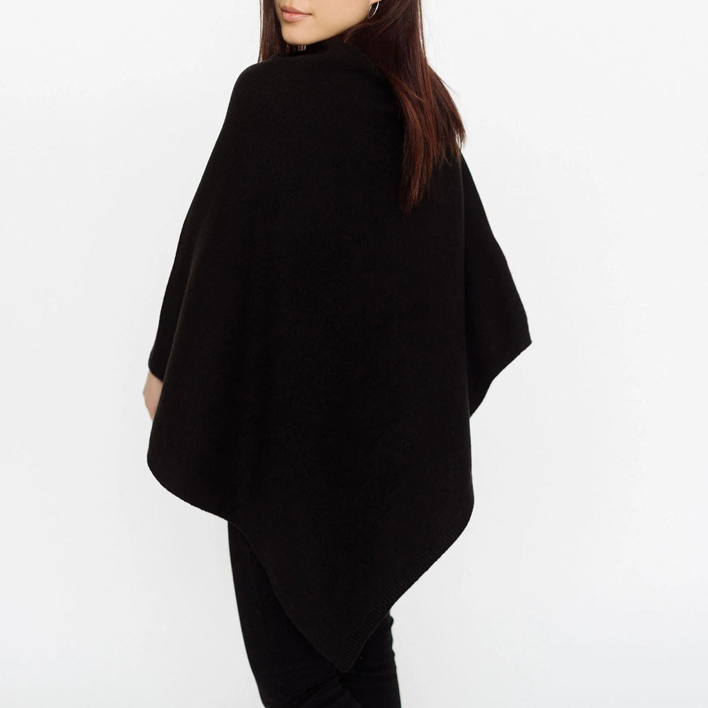 Pudus Women's Soft Faux Cashmere Poncho Sweater - Use as a Coat, Cape, Shawl, Wrap, or Blanket Poncho Black Poncho