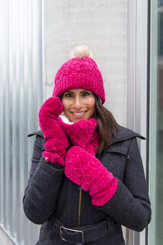 Chenille Knit Snood Neck Warmer | Raspberry