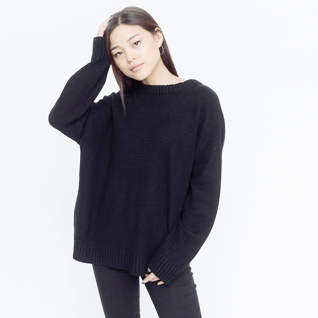 Faux Cashmere Marchesi Sweater | Black