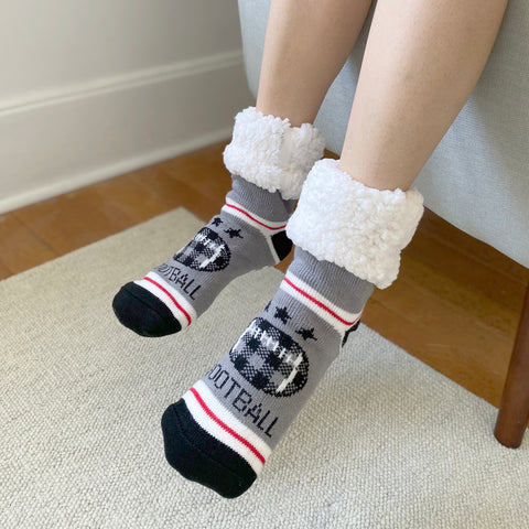Classic Slipper Socks | Football Grey