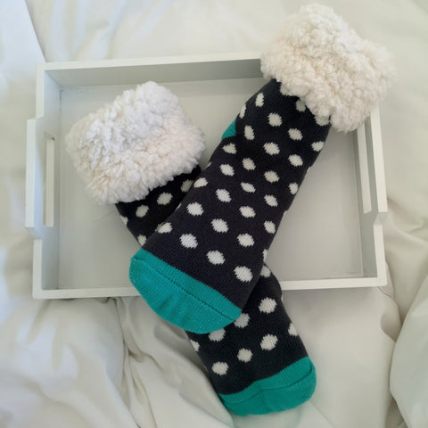 Classic Slipper Socks | Polka Dot Grey