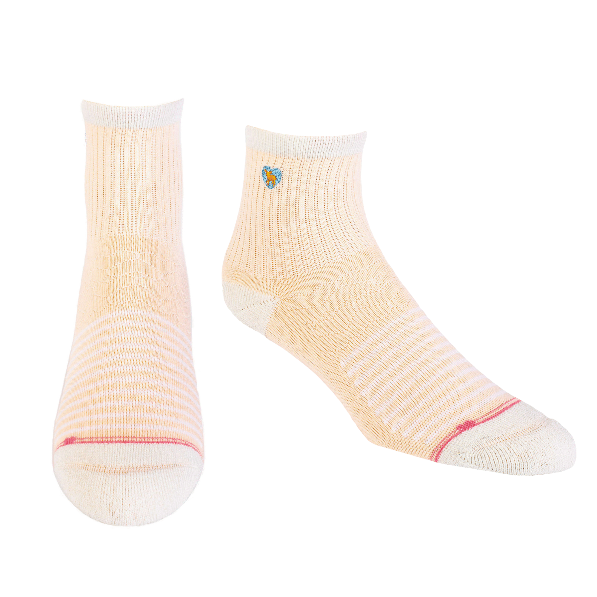 Bamboo Socks | Uptown Quarter Crew | A Line In The Sand Peach