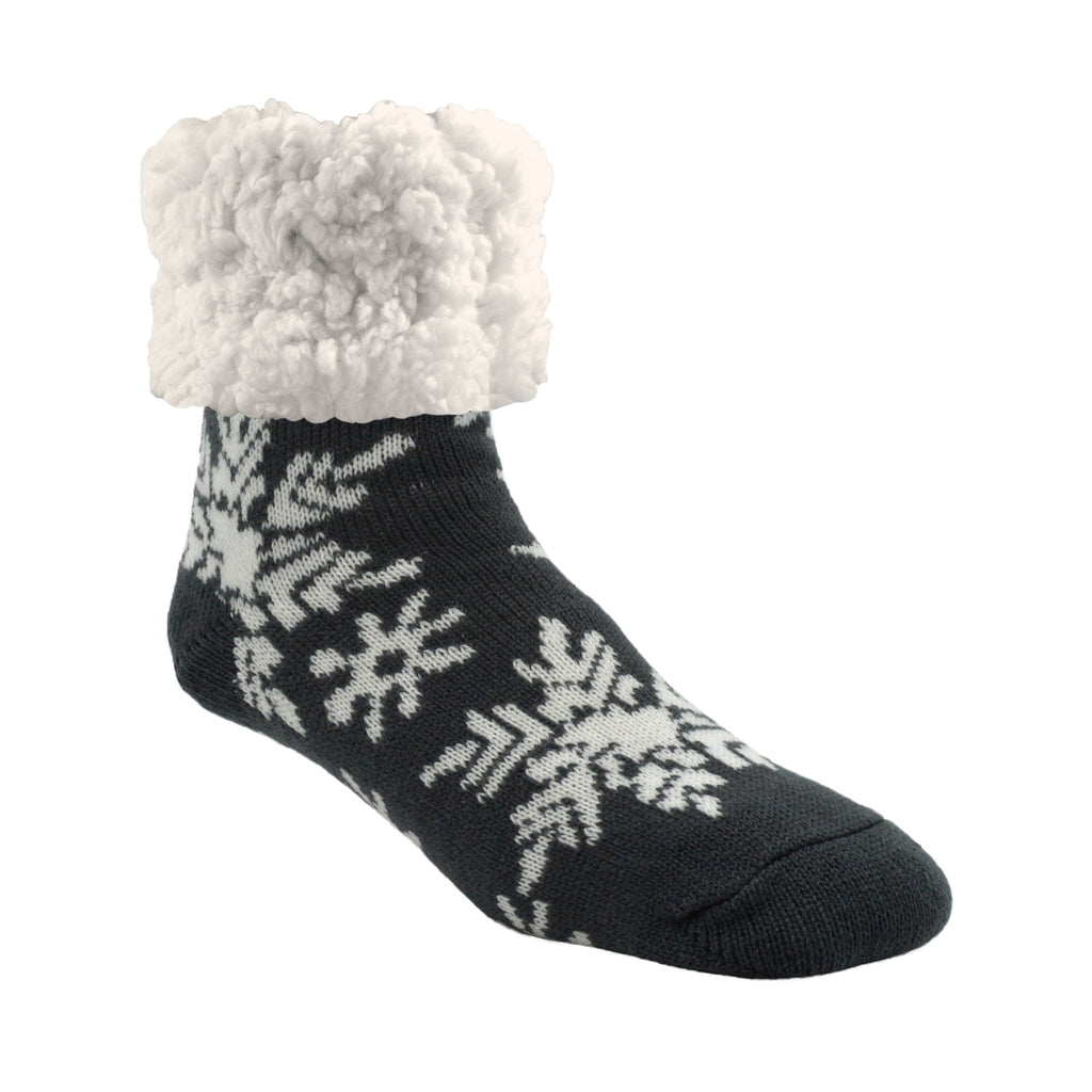 Pudus Cozy Winter Slipper Socks for Women and Men with Non-Slip Grippers and Faux Fur Sherpa Fleece - Adult Regular Fuzzy Snowflake Dark Grey - Classic Slipper Sock