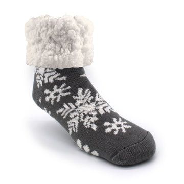 Pudus Cozy Winter Slipper Socks for Women and Men with Non-Slip Grippers and Faux Fur Sherpa Fleece - Adult Regular Fuzzy Snowflake Grey - Classic Slipper Sock