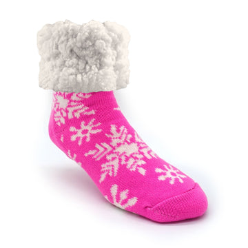 Pudus Cozy Winter Slipper Socks for Women and Men with Non-Slip Grippers and Faux Fur Sherpa Fleece - Adult Regular Fuzzy Socks Snowflake Pink - Classic Slipper Sock