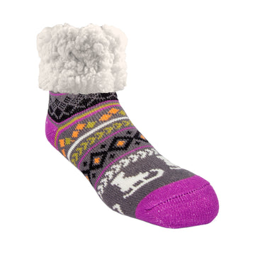 Pudus Classic Ice Skating slipper socks with purple heal and toe