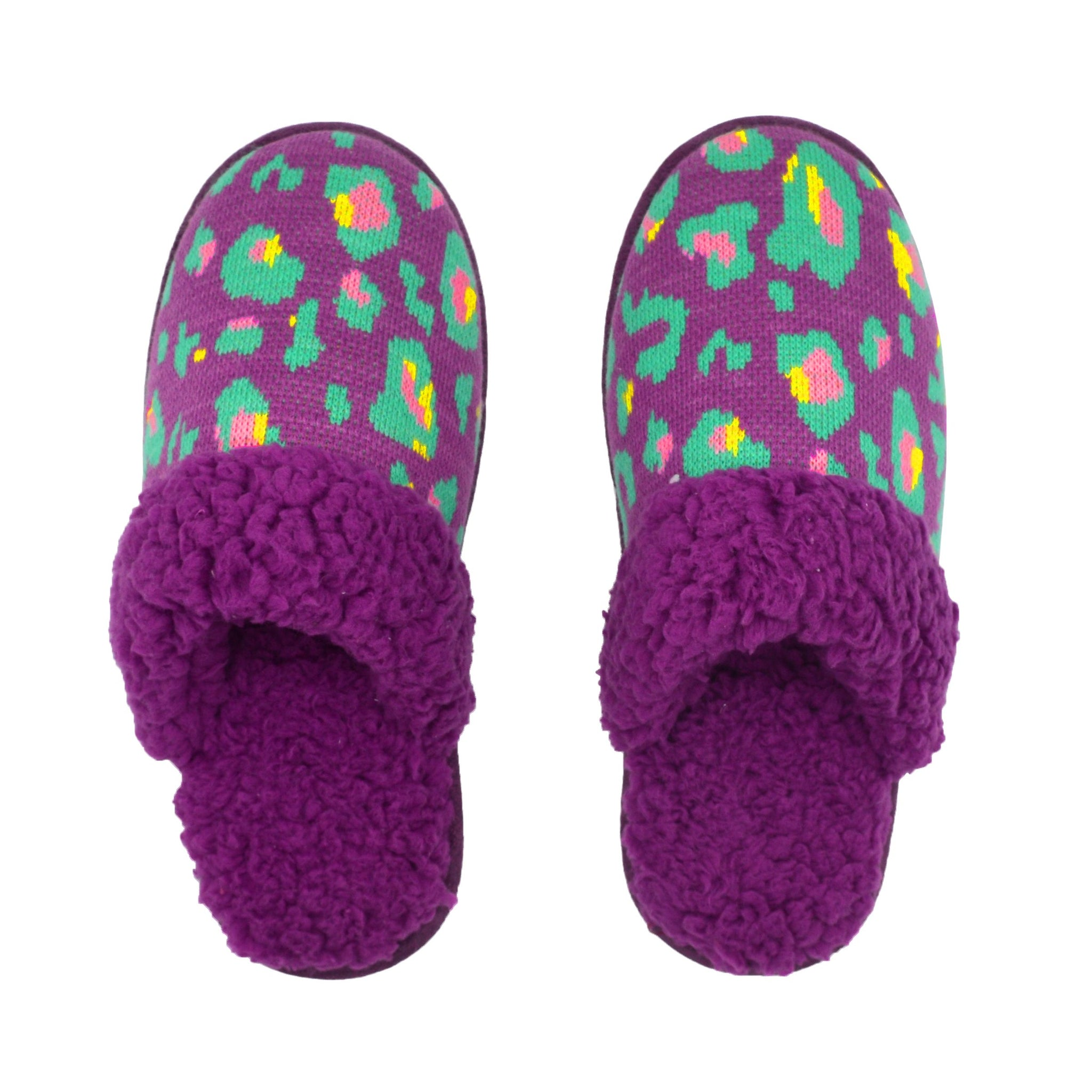 Bright Creekside Slide Slippers | Purple Leopard