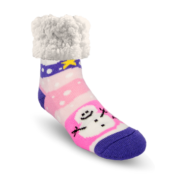 Pudus Cozy Winter Slipper Socks for Women and Men with Non-Slip Grippers and Faux Fur Sherpa Fleece - Adult Regular Fuzzy Socks Snowy Pink Snowman - Classic Slipper Sock