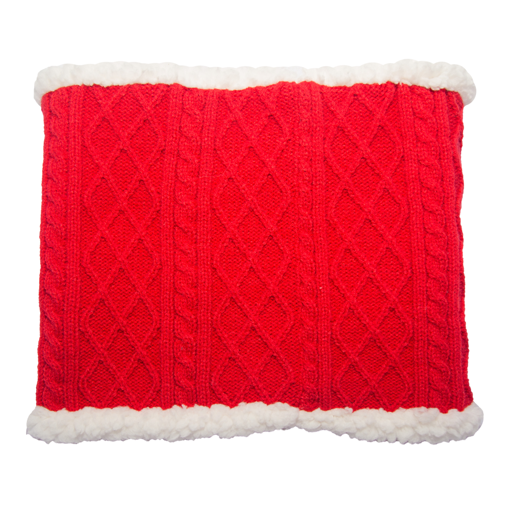 Cable Knit Snood Neck Warmer | Red