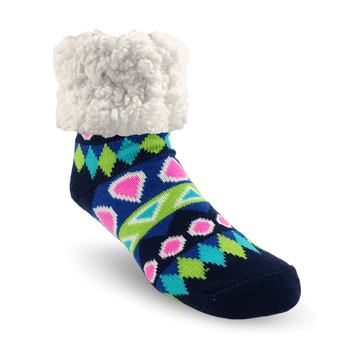 Pudus Cozy Winter Slipper Socks for Women and Men with Non-Slip Grippers and Faux Fur Sherpa Fleece - Adult Regular Fuzzy Socks Southwest Blue - Classic Slipper Sock