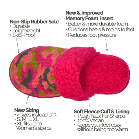 Bright Collection Creekside Slide Slippers | Camo Pink