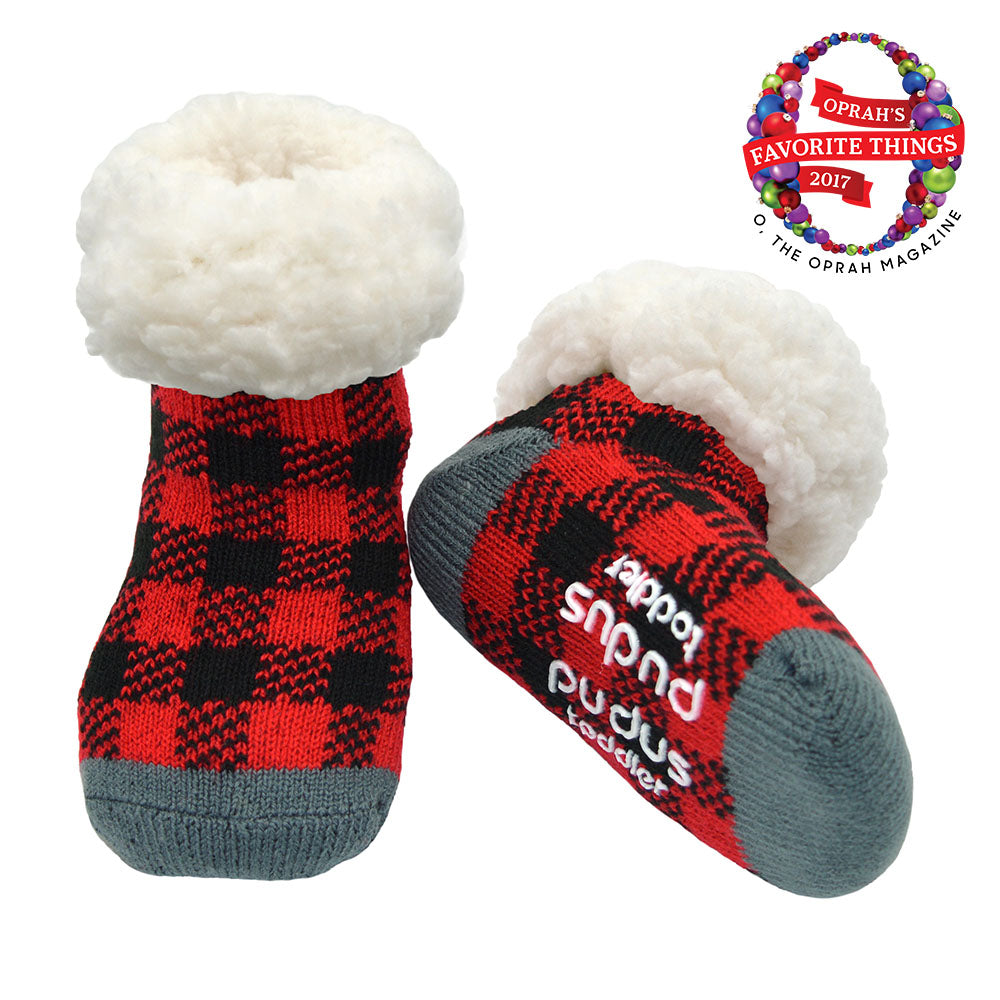 Pudus Cozy Winter Slipper Socks for Toddlers with Non-Slip Grippers and Faux Fur Sherpa Fleece - Baby Boy and Girl Fuzzy Socks (Ages 1-3) Lumberjack Red - Toddler Slipper Sock