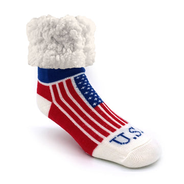 Pudus Cozy Winter Slipper Socks for Women and Men with Non-Slip Grippers and Faux Fur Sherpa Fleece - Adult Regular Fuzzy Socks USA Pride - Classic Slipper Sock