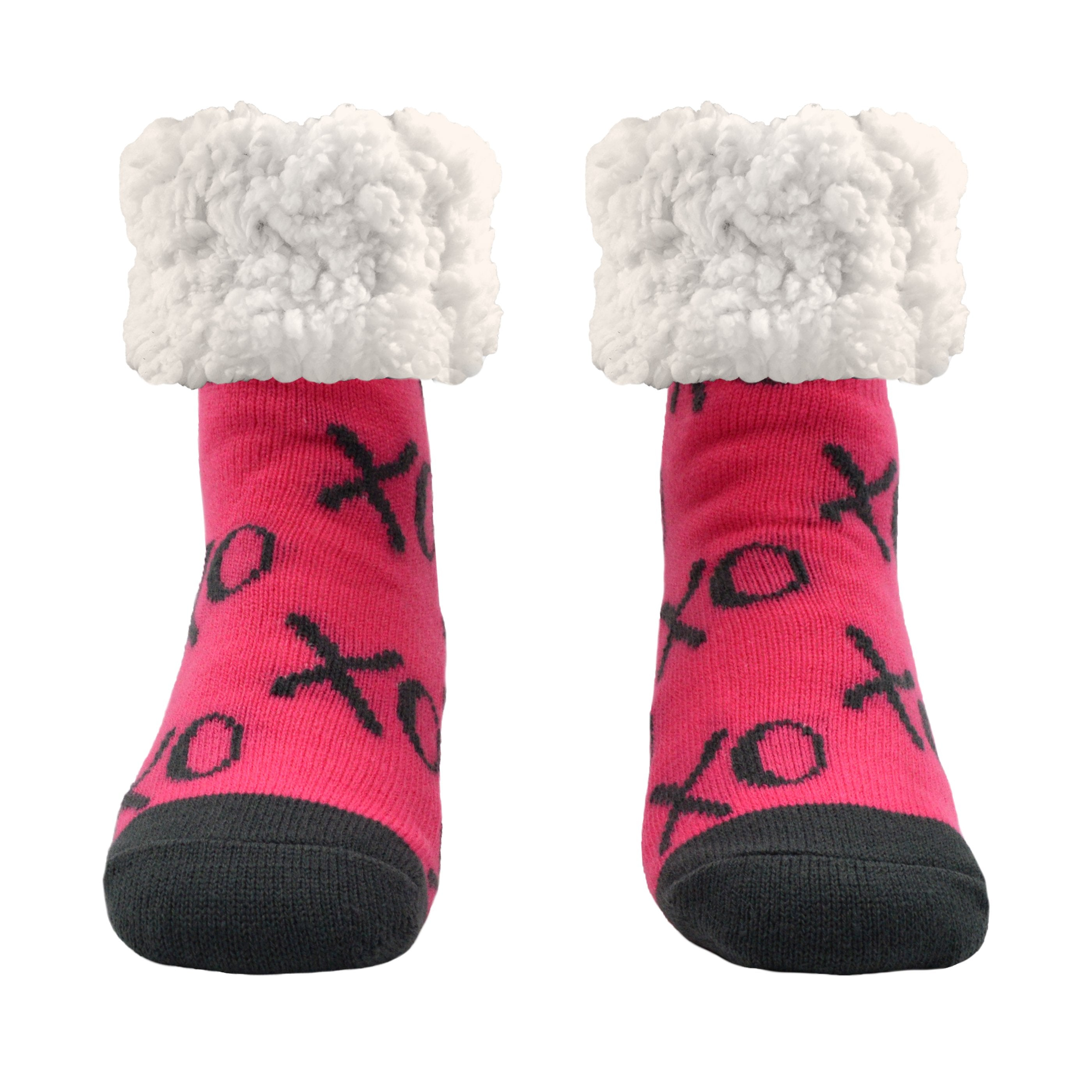 Pudus Cozy Winter Slipper Socks for Women and Men with Non-Slip Grippers and Faux Fur Sherpa Fleece - Adult Regular Fuzzy Socks XOXO Pink - Classic Slipper Sock