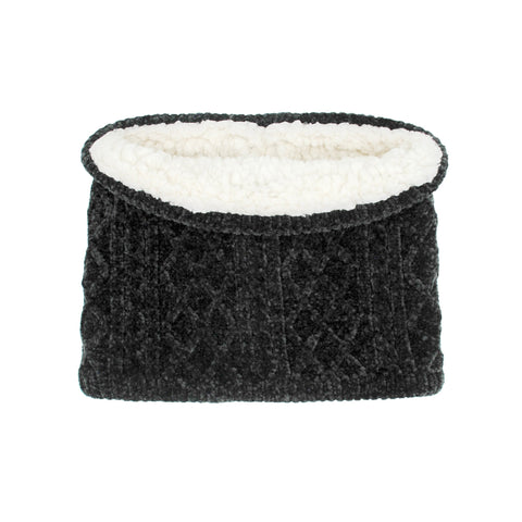 Chenille Knit Snood Neck Warmer | Black