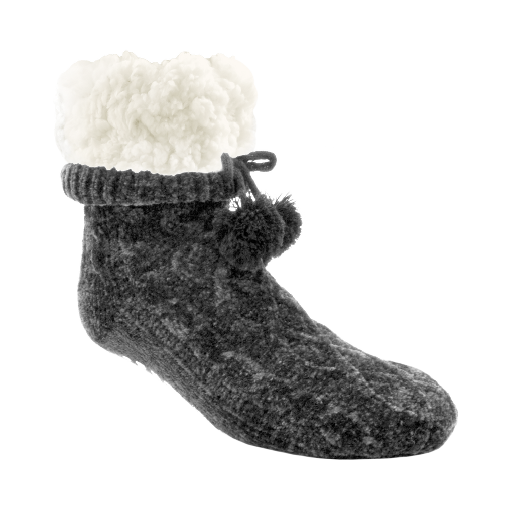 Pudus Winter Chenille Cable Knit Slipper Socks for Women and Men with Non-Slip Grippers and Faux Fur Sherpa Fleece Lining - Adult Regular Fuzzy Socks Chenille Cable Knit Grey - Classic Slipper Sock