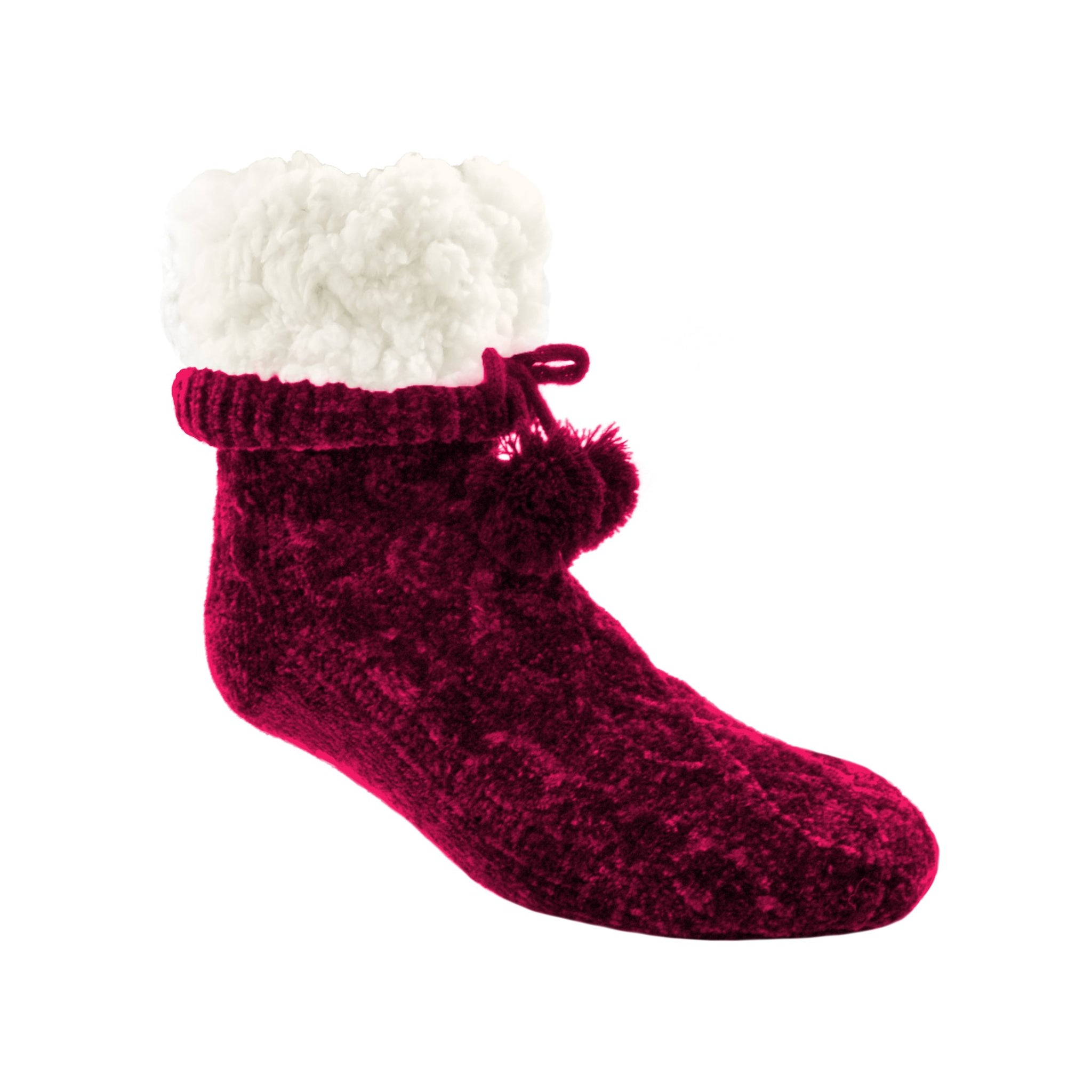 Chenille Cable Knit Raspberry - Classic Slipper Sock