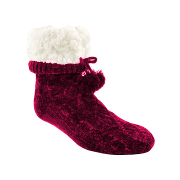 Pudus Winter Chenille Cable Knit Slipper Socks for Women and Men with Non-Slip Grippers and Faux Fur Sherpa Fleece Lining - Adult Regular Fuzzy Socks Chenille Cable Knit Raspberry - Classic Slipper Sock