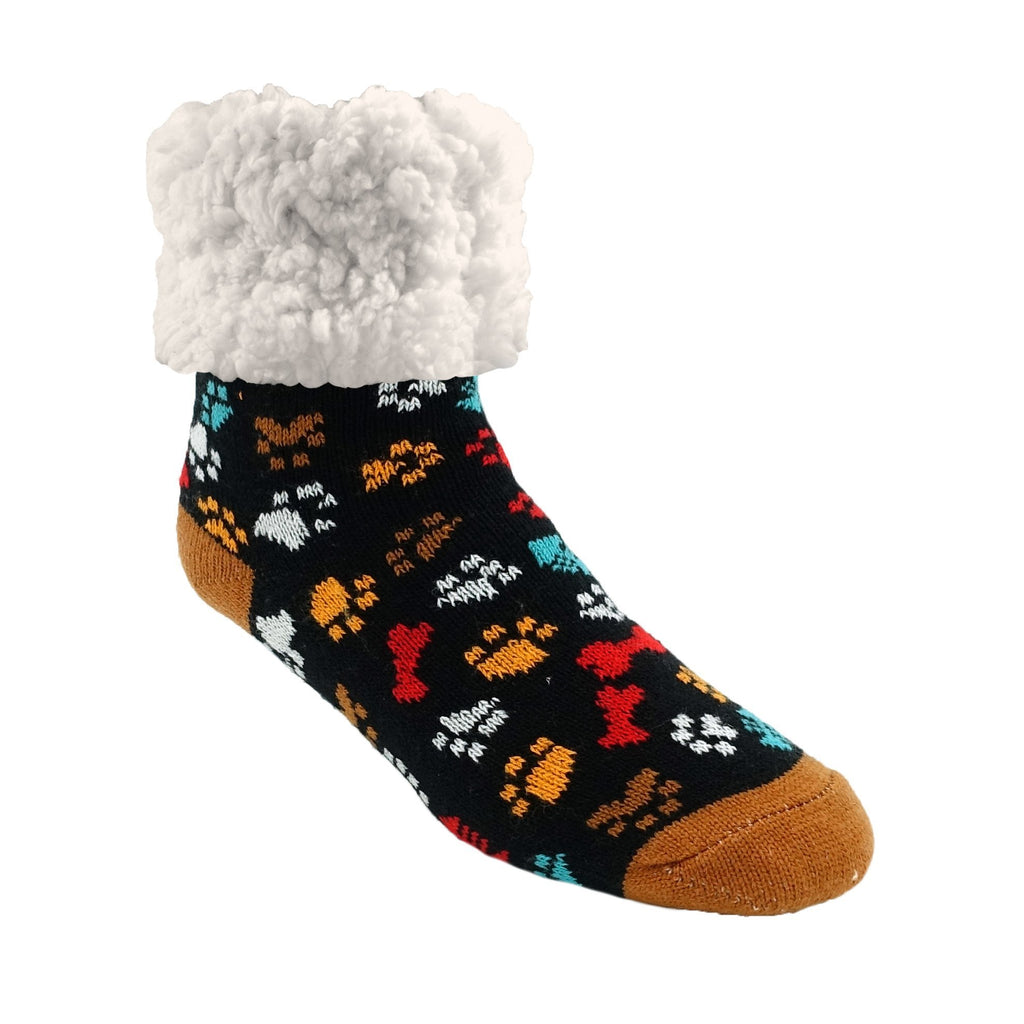 Pudus Cozy Winter Slipper Socks for Women and Men with Non-Slip Grippers and Faux Fur Sherpa Fleece - Adult Regular Fuzzy Socks Paw Paw - Classic Slipper Sock