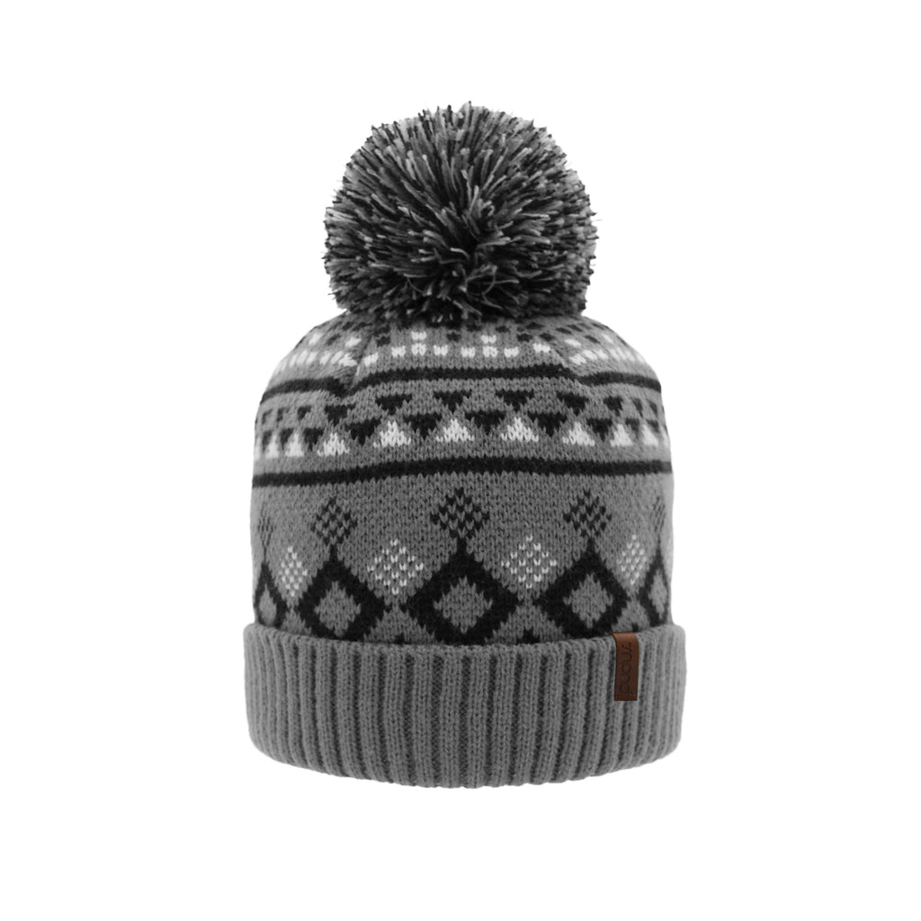 Geometric Black Pom Pom Beanie Hat - Warm Winter Hat for Men & Women with Furry Sherpa Fleece Lining