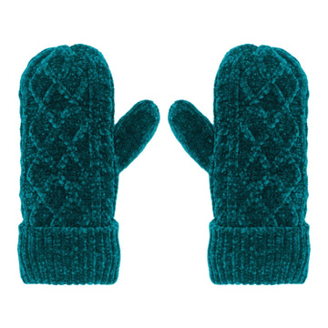 Pudus Chenille Cable Knit Winter Mittens for Women, Fleece-Lined Warm Gloves Cable Knit Harbour Chenille - Mittens Adult