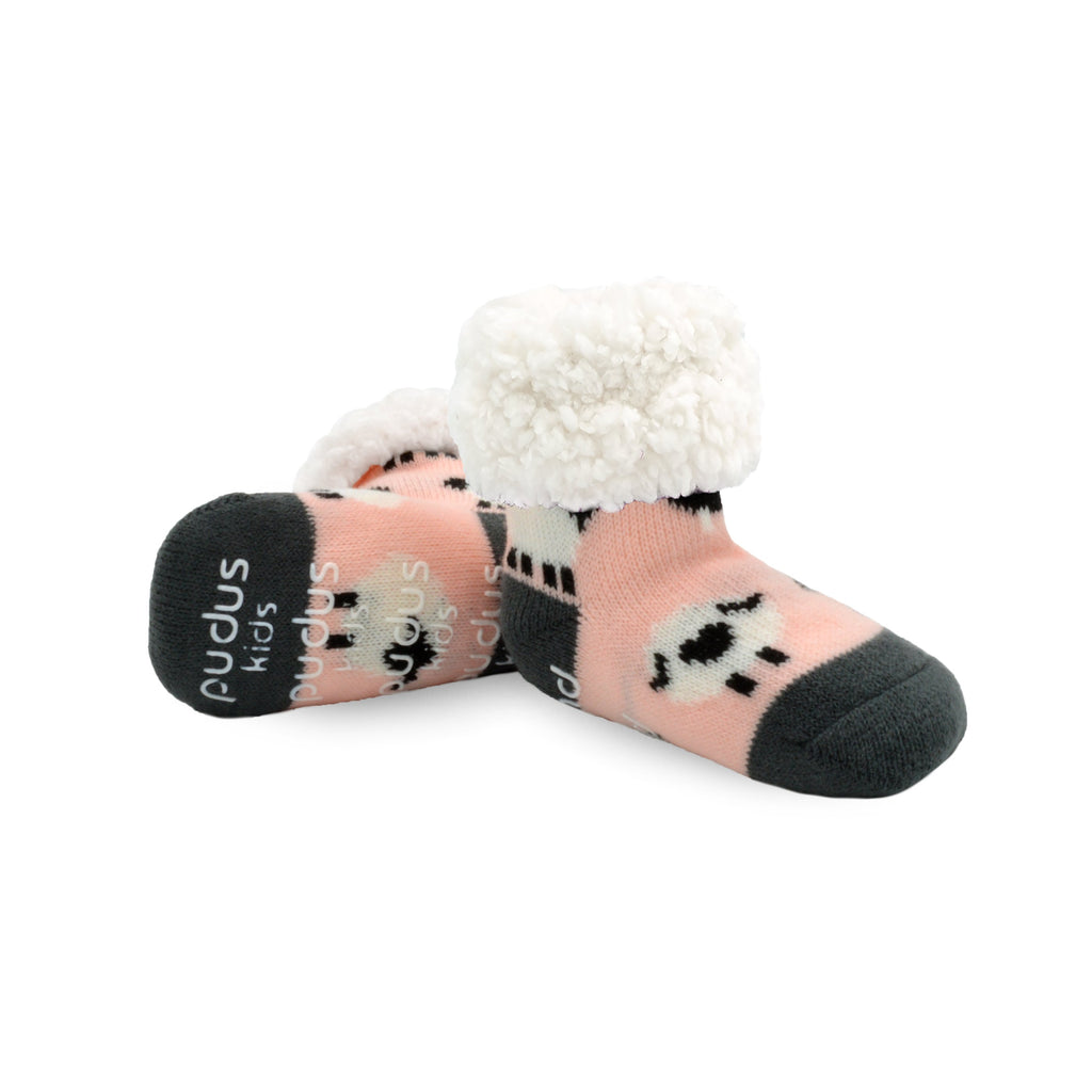 Pudus Cozy Winter Slipper Socks for Kids with Non-Slip Grippers and Faux Fur Sherpa Fleece - Boy and Girl Fuzzy Socks (Ages 4-7) Sheep Blush - Classic Slipper Sock Kids
