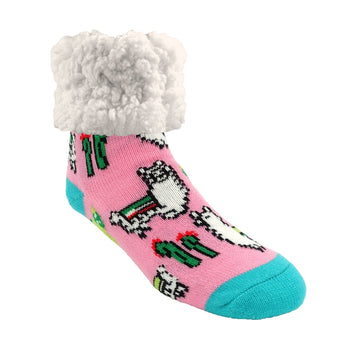 Pudus Cozy Winter Slipper Socks for Women and Men with Non-Slip Grippers and Faux Fur Sherpa Fleece - Adult Regular Fuzzy Socks Llama Pink - Classic Slipper Socks