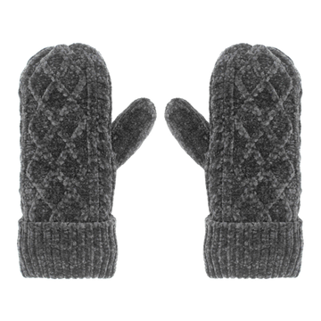 Pudus Chenille Cable Knit Winter Mittenss for Women, Fleece-Lined Warm Gloves Cable Knit Grey Chenille - Mittens Adult