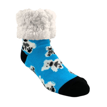 Pudus Cozy Winter Slipper Socks for Women and Men with Non-Slip Grippers and Faux Fur Sherpa Fleece - Adult Regular Fuzzy Socks Polar Bear - Classic Slipper Sock