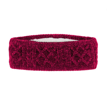 Pudus Raspberry Chenille Cable Knit Headband for Women - Ear Warmer, Winter Headband with Warm Faux Fur Fleece Lining