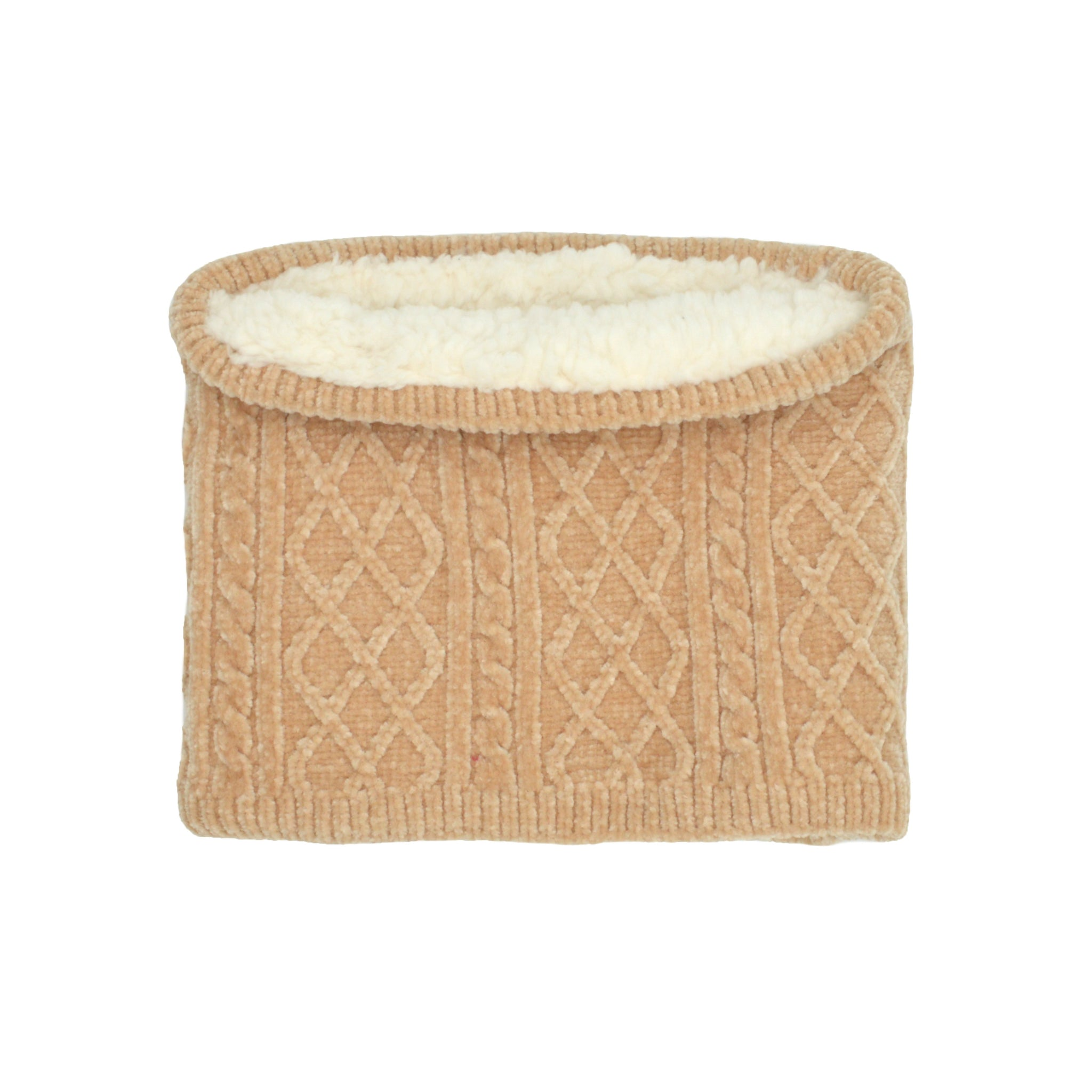 Chenille Knit Snood Neck Warmer | Sand