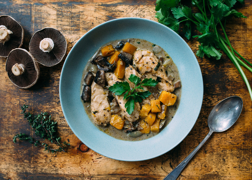 Chicken With Pumpkins & Mushrooms