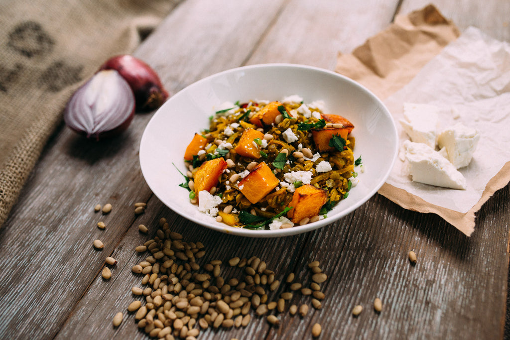 Pumpkin, Spiced Lentils & Pine Nuts