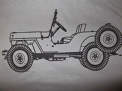 Men's Gray Vintage Jeep Willys T Shirt