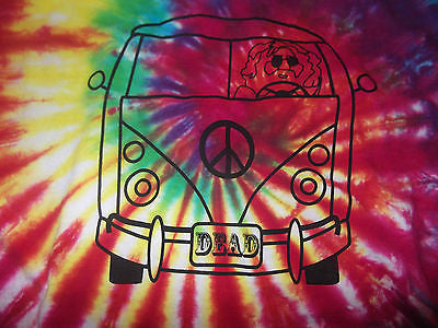 Long Sleeve Jerry Garcia VW Bus Tie Dye T Shirt.  Grateful Dead Collection.