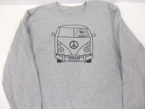 Men's long sleeve heather gray Jerry VW bus tee.  Grateful Dead collection.