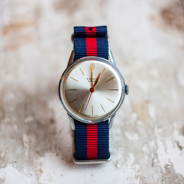 blue and red strap watch