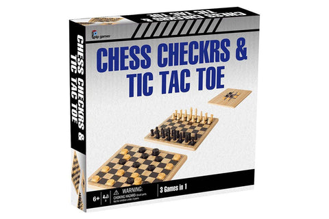 Solid Wood Chess / Checkers / Tic Tac Toe