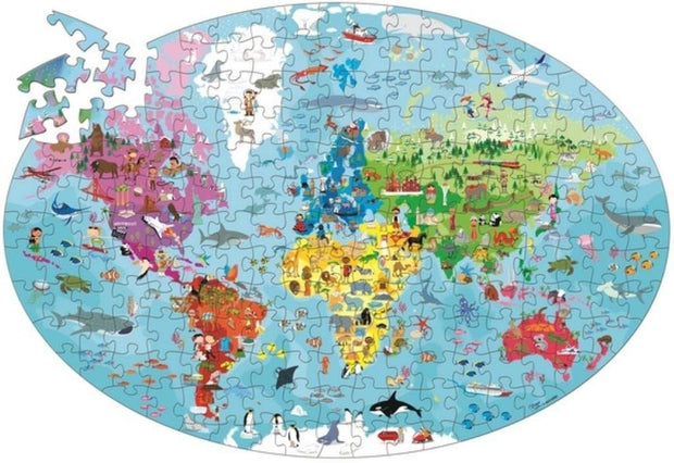205 Pieces Travel, Learn and Explore Earth Oval Puzzle