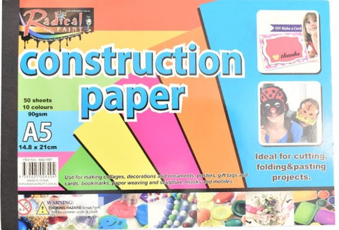 Construction paper A5 size pad