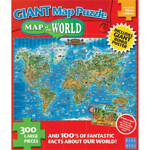 300pce Giant Map Around The World