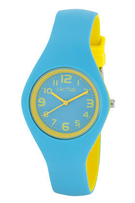 Watch - Aqua/Yellow large face silicone band