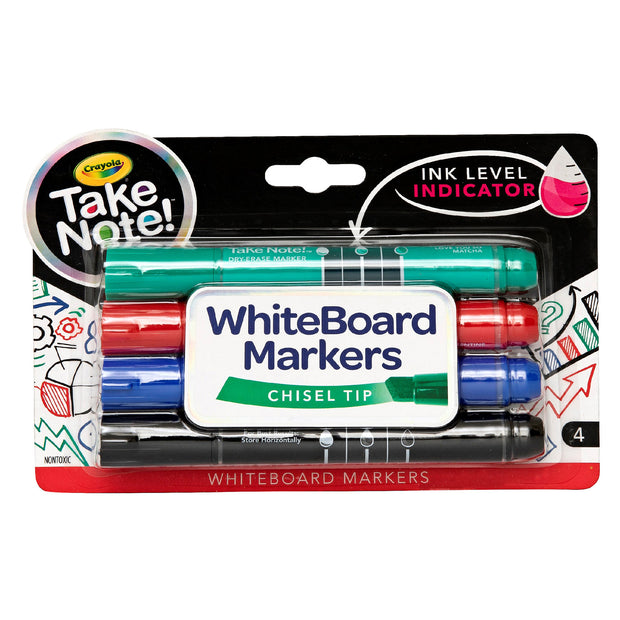 Whiteboard Markers 4 colours chisel tip